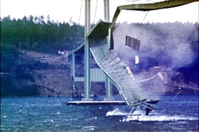 "The Tacoma Narrows Bridge, aka the ""Galloping Gertie"" which collapsed in 1940"