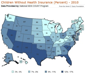 children without health insurance, united states, 2010