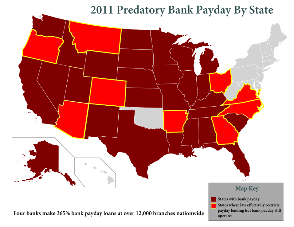 2011 map of predatory payday lending by banks